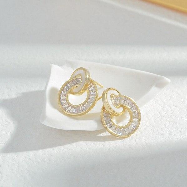 Wholesale Sterling Silver Pin Post Geometric round Shell Stud Earrings Female Women Zircon Earring Ornament Jewelry Gift