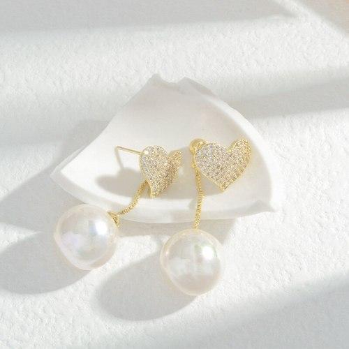 Wholesale Sterling Silver Pin Post Heart Pearl Earrings Women's Heart-Shaped Studs Peach Love Earrings Jewelry Gift