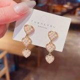 Wholesale Heart-to-Heart Pearl Hearth-Shaped Earrings Female Women 925 Silver Ear Studs Earrings Jewelry Gift