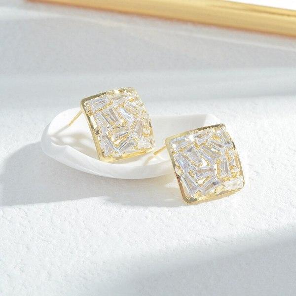 Wholesale Sterling Silver Pin Post Zircon Square Earrings Ear Studs Female Women Earrings Jewelry Gift