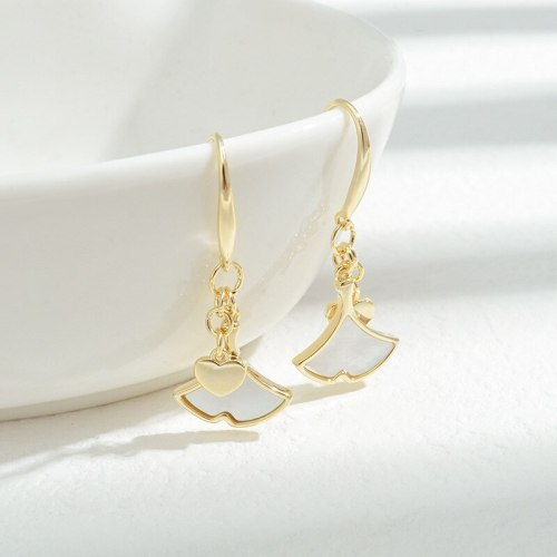 Wholesale Sterling Silver Pin Post Small Skirt Shell Earrings Peach Heart Earrings Ear Studs Jewelry Gift