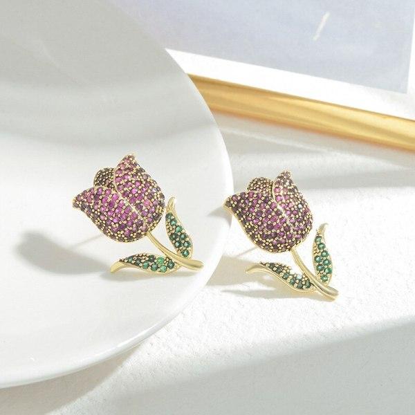 Wholesale Colorful Zircon Rose Petals Stud Earrings for Women Sterling Silver Pin Post Earrings Jewelry Gift