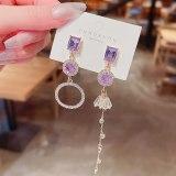 Wholesale Sterling Silver Pin Post Asymmetric Purple Zircon Earrings Female Women Stud Earrings Jewelry Gift