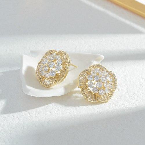 Wholesale Full Diamond Petal Zircon Stud Earrings Female Women Sterling Silver Pin Post Earrings Jewelry Gift