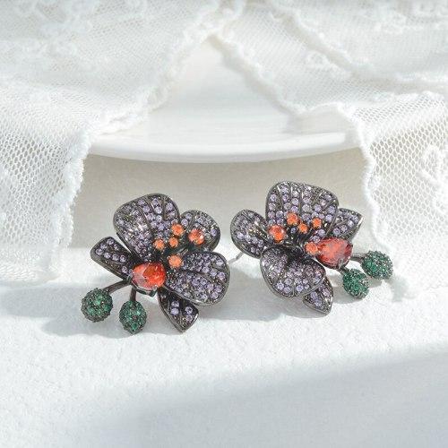 Wholesale Zircon Petal Stud Earrings Women's Sterling Silver Pin Post Earrings Earring Ornament Jewelry Gift