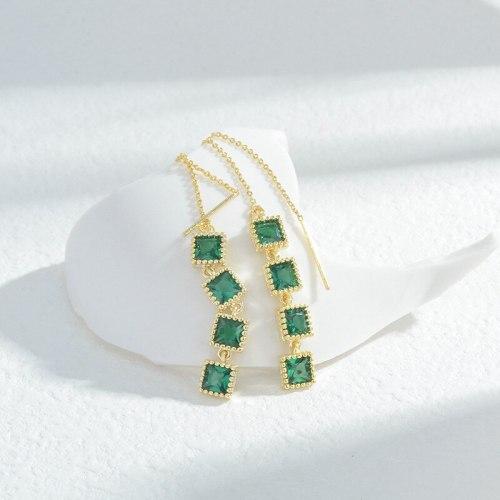 Wholesale Emerald Square Lines Women's Long Fringe Earrings Stud Earrings 925 Silver Pin Earrings Eardrops Jewelry Gift