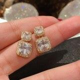 Wholesale Sterling Silver Pin Post Geometric Square Zircon Stud Earrings for Women Eardrops Earrings Jewelry Gift