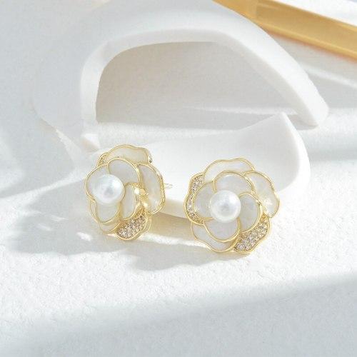 Wholesale Sterling Silver Pin Post New Camellia Stud Earrings Pearl Zircon Earrings for Women Jewelry Gift