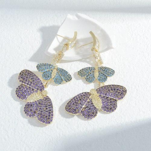 Wholesale Color Zircon Butterfly Studs Female Women Sterling Silver Pin Post Earrings Eardrops Jewelry Gift