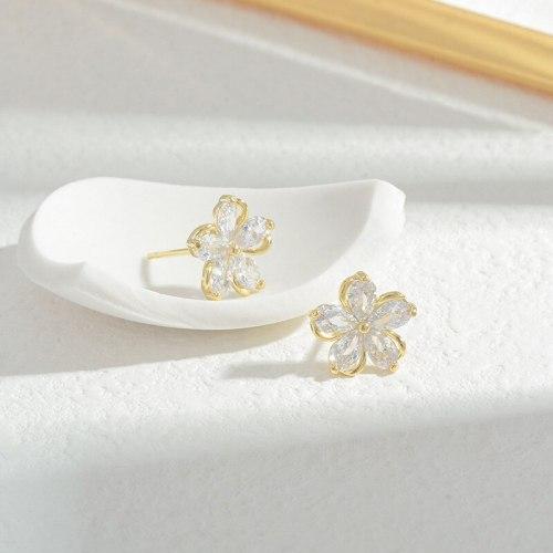 Wholesale Zircon Petal Stud Earrings Women's Sterling Silver Pin Post Earrings Jewelry Gift