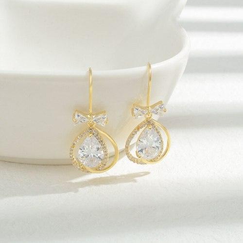 Wholesale Zircon Bow Earrings Sterling Silver Pin Post Stud Earrings For Women Jewelry Gift