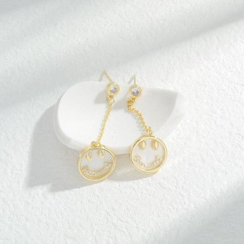 Wholesale Zircon Double T Smiley Face Ear Studs Female Women Sterling Silver Pin Post Earrings Jewelry Gift