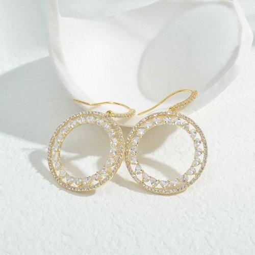 Wholesale Zircon Full Diamond Geometric round Earrings Sterling Silver Pin Post Ear Studs Jewelry Gift