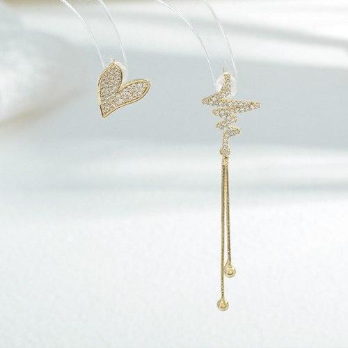Wholesale Zircon Asymmetric  Love Heart Stud Earrings Female Women Sterling Silver Pin Post Tassel Earrings Jewelry Gift