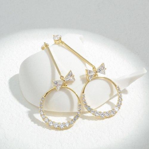 Wholesale Sterling Silver Pin Post Zircon Bow Stud Earrings Female Women Earrings Fashion Jewelry Gift