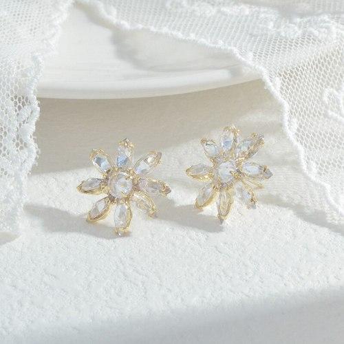 Wholesale New SUNFLOWER Earrings for Women S925 Silver Ear Studs Earrings Jewelry Gift