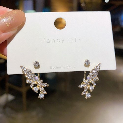 Wholesale Sterling Silver Pin Wings Rhinestone Back-Mounted Stud Earrings Dropshipping Jewelry