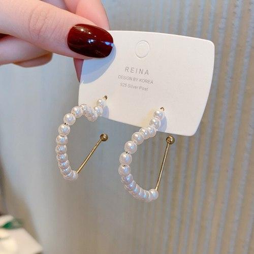 Wholesale 925 Silver Pin New Heart Pearl Earrings Women Girl Lady Eardrops Earrings Dropshipping Jewelry