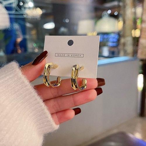 Wholesale Sterling Silver Pin Semi-Circle Earrings Metal Fashion Earrings Dropshipping Jewelry