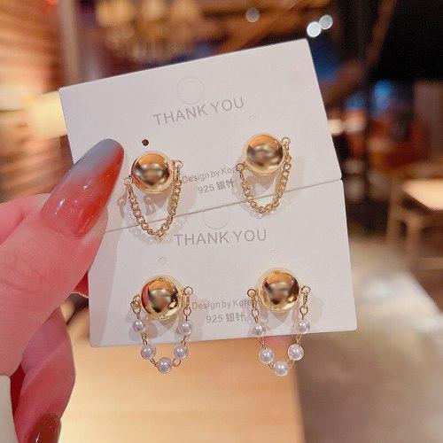 Wholesale Sterling Silver Pin New Chain Pearl Stud Earrings Women Girl Lady Earrings Dropshipping Jewelry