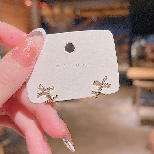 Wholesale New Geometric Cross Rhinestone Earrings Women Girl Lady Stud  Earrings Dropshipping Jewelry