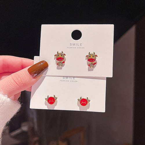 Wholesale Sterling Silver Pin Fashion Chinese Zodiac Cow Earrings Women Girl Lady INS Stud Earring Earrings Dropshipping Jewelry