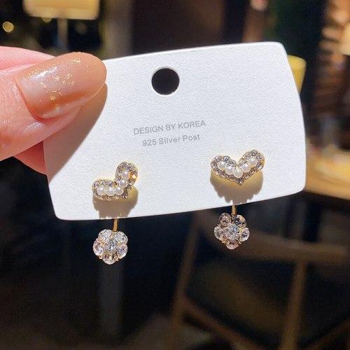 Wholesale Sterling Silver Pin Heart-Shaped Zircon Fashion Women Girl Lady Earrings Dropshipping Jewelry