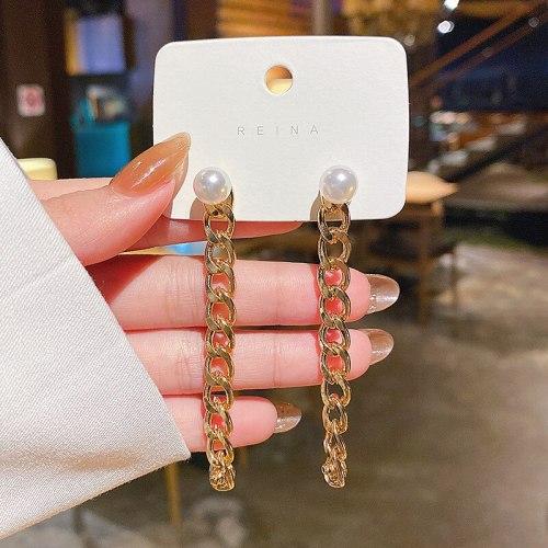 Wholesale Sterling Silver Pin New Metal Chain Long Earrings Women's Pearl  Earrings Dropshipping Jewelry