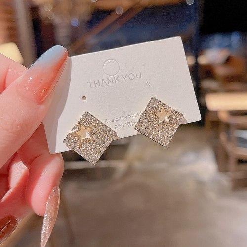 Wholesale  Geometric  Full Diamond Earrings Women Girl Lady Stud  Earrings Dropshipping Jewelry gift