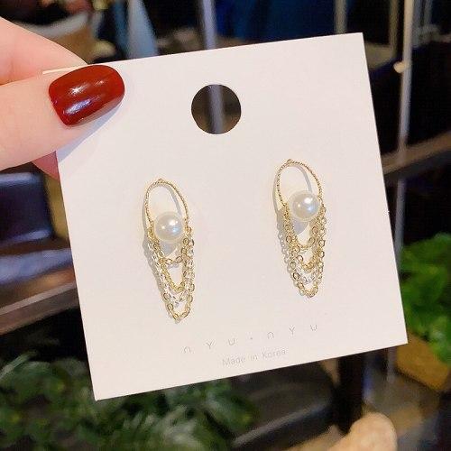 Wholesale 925 Silver Pin Pearl Chain Stud Earrings Tassel Long Earrings Dropshipping Jewelry