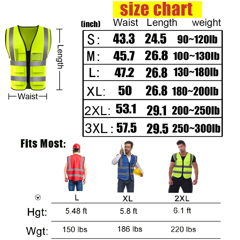 High Visibility Safety Vest Custom Your Logo Protective Workwear 5 Pockets With Reflective Strips Outdoor Work Vest Red M