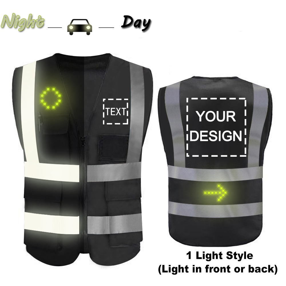 M High Visibility Safety Vest Custom Your Logo Protective Workwear 5 Pockets With Reflective Strips Outdoor Work Vest Blue