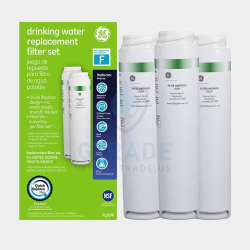 GE FQSVF screen printing Refrigerator Filter  3pack