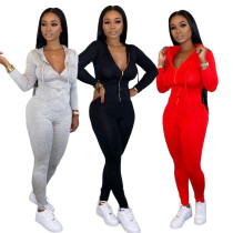 2020  Spring Fashionable Sexy Women's Casual Solid Color Zipper Hoodie V Neck  Long Sleeve Jumpsuit 202002046285
