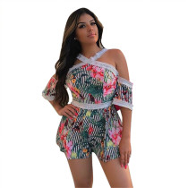2020 Club Dresses Women Sexy Party Open Back Open Shoulder Lace Printing Short Pants  20200327003