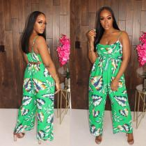 2020 One-piece Green Sleeveless Wide Leg Jumpsuit With Sexy Printed Tube Top 202003271031