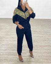 2020 Dark Blue Stitching Zipper Street Ladies Rraincoat Cloth Jumpsuit Sports Style 202003158332