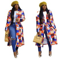 2020 Fashionable Casual Color Plaid Printed Double-Breasted Lapel Cardigan Jacket Trench Coat Winter 202004298088