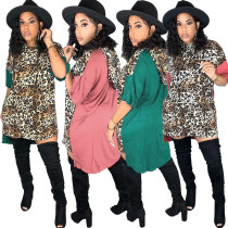 2020 Fashion Sexy Stitching Leopard Print Irregular Five-point Sleeves Round Neck Casual Ladies Dress 202003118338