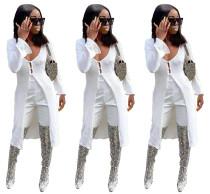 2020 Women Fashion Summer Sexy Low-cut Long Sleeve Plain Long Knit Cardigan White Coat 202004289051