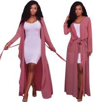 2020 Temperament Commuting Sexy Solid Color V-neck Long Sleeve Cardigan Lady Jacket Chiffon Shirt 202003103941