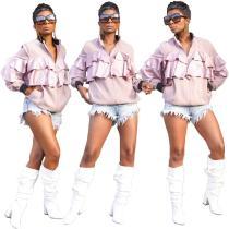 2020 Pink Autumn Zipper Stand Collar Ruffle Stitching Ladies Casual Gacket 20200416062