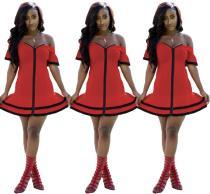2020 Women Summer Sexy Club Flounce Side Flounce Sleeve Zipper One-shouldered Red Short Dress 202004199041