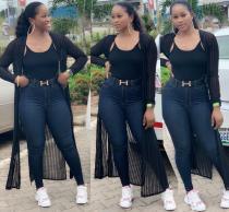 2020 Women Summer Casual Sexy Long sleeve See-through High-slit Gauze Black Stripe Coat 202004209045