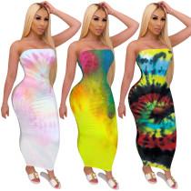 2020 Fashion Casual Sexy Printed Wrap Chest Dress Nightclub Step Skirt Long Skirt Summer 202005154023
