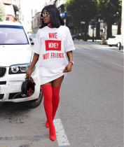 Summer Fashion Woman Round Neck T-shirt Letter Printed Sexy Loose Casual Dress  BL2006085092