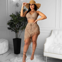 Summer Ladies Casual Fashion Trend Sexy Backless Cutout Exposed Belly Button Straps Handmade Crocheted Tassel Suit Beach Swimwear Smock CX200630070
