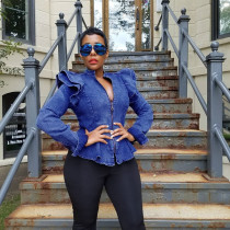 Summer Fashion Ladies Retro Denim Blue Sexy Zipper V-Neck Ruffled Long-Sleeved Temperament Coat BL20071135067