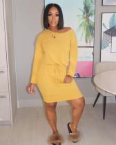 Ladies Autumn Casual Fashion Trend Sexy Slim Fit Oblique Shoulder Solid Color Pocket Long Sleeve Short Dress CX2008216324