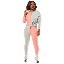Ladies Autumn Casual Fashion Trend Sports Round Neck Pullover Two-Color Stitching Knotted Long-Sleeved Trousers Two-Piece Suit CX2008243859